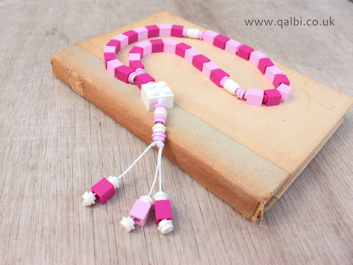 Lego Tasbih Tasbeeh Islamic Prayer Beads for Muslim Kids in Pink and white