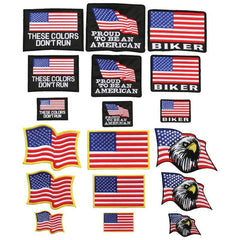 Live To Ride 18pc Embroidered Flag Patch Set