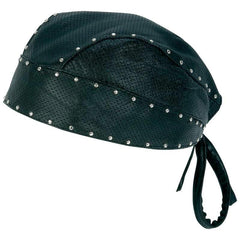 Diamond Plate Solid Genuine Leather Perforated Skull Cap With Chrome Studs