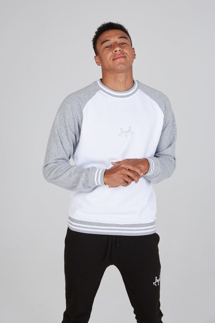 Contrast Sweatshirt - White/Grey