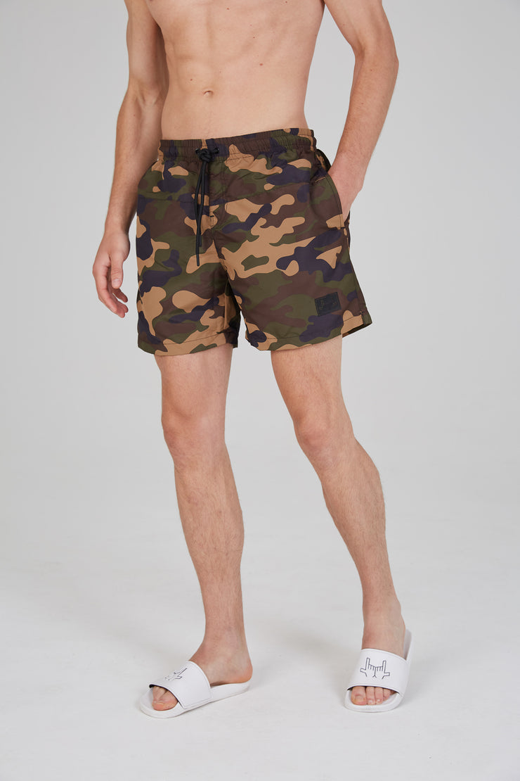 JLINGZ Dark Wood Swim Shorts