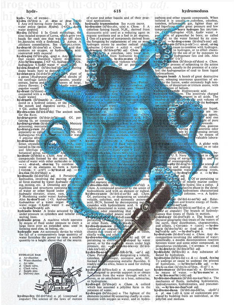 Art N Wordz Alfred Inked Blue Octopus Original Dictionary Sheet Pop Art Wall or Desk Art Print Poster