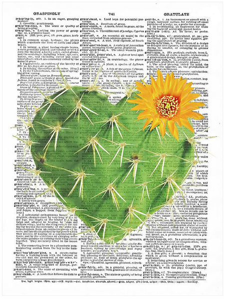 Art N Wordz Cactus Heart Original Dictionary Sheet Pop Art Wall or Desk Art Print Poster