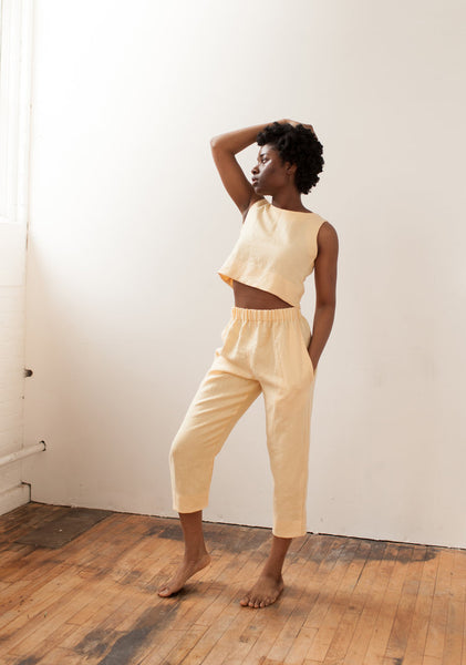Slim Pant, Yellow Linen