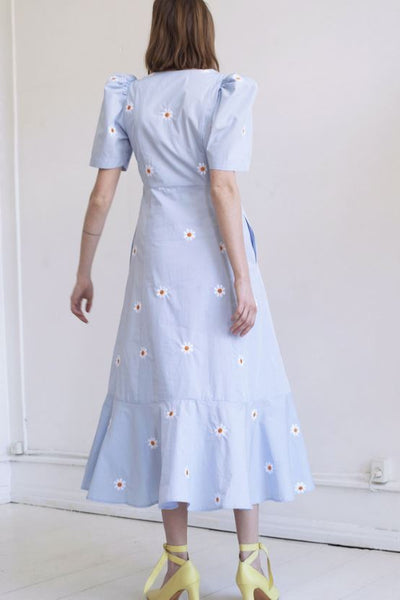 Penny Dress, Blue Flower Embroidery