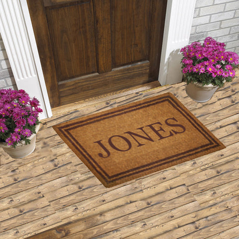 PERSONALIZED COCO MATS - DOUBLE BROWN BORDER