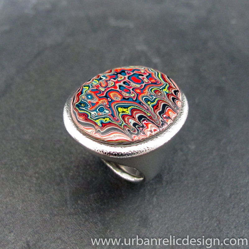 Stainless Steel and Motor Agate Fordite Large Ring #2136