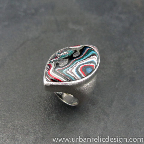 Stainless Steel and Motor Agate Fordite Biggie Ring #2138