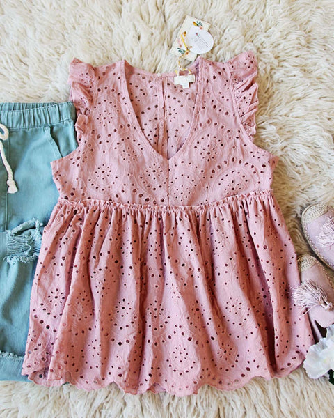 Dusty Poppy Eyelet Top: Featured Product Image