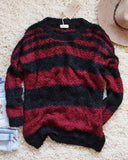 Layla Cozy Stripe Sweater in Wine: Alternate View #1