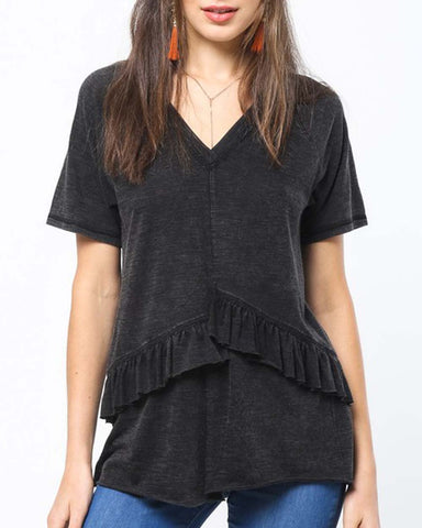 Must Have Ruffle Tee in Black