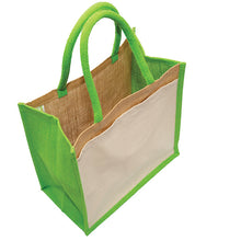 Load image into Gallery viewer, JB6112 - Jute Cotton Pocket Bag - Natural / Lime