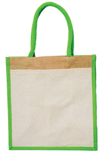 JB6112 - Jute Cotton Pocket Bag - Natural / Lime
