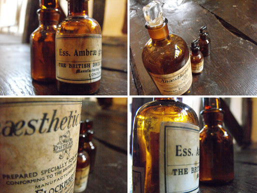 Three Late 19thC Brown Glass Apothecary Bottles for Anesthetic Ether & Ambergris