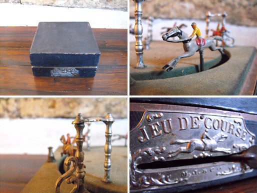 A Vintage Mechanical French Horse Racing Game 'Jeu de course' by M.J. & Co.