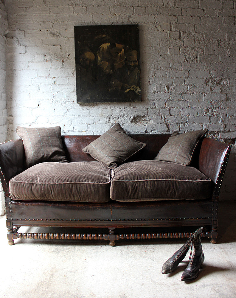 A Comfortable Early 20thC Oak, Leather & Corduroy Upholstered & Studded Sofa c.1915