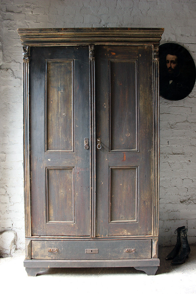 A Decorative Early Victorian Painted Pine Housekeepers Cupboard c.1840