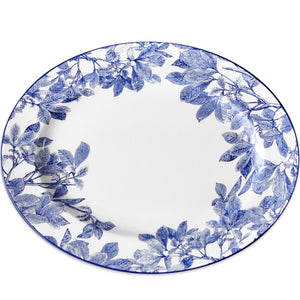 Arbor Blue and White Floral Large Rimmed Oval Platter