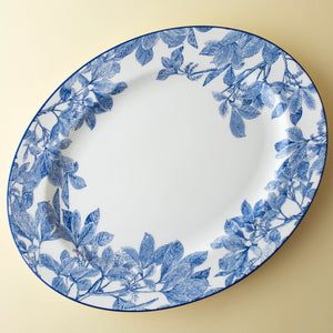 Arbor Blue Large Rimmed Oval Platter in Blue and White