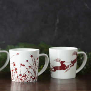 Sleigh Santa and Reindeer Holiday Coffee or Cocoa Mug with Winterberries Red Mug