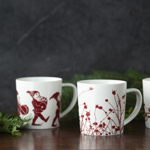 Coffee or Cocoa Mugs in Elves Red and Winterberries Red