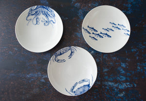 Blue Lucy Octopus Coupe Low Profile Soup Pasta Bowl with Crabs Blue Coupe Soup Bowl and School of Fish Blue Coupe Soup Bowl