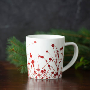 Winterberries Red Wide Coffee or Cocoa Mug in Premium Porcelain
