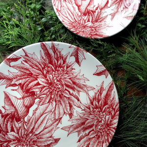 Poinsettia Red Coupe Round Full Coverage Platter and Full Coverage Alternate Salad Plate