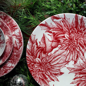 Poinsettia Red Coupe Round Full Coverage Platter with Poinsettia Dinnerware