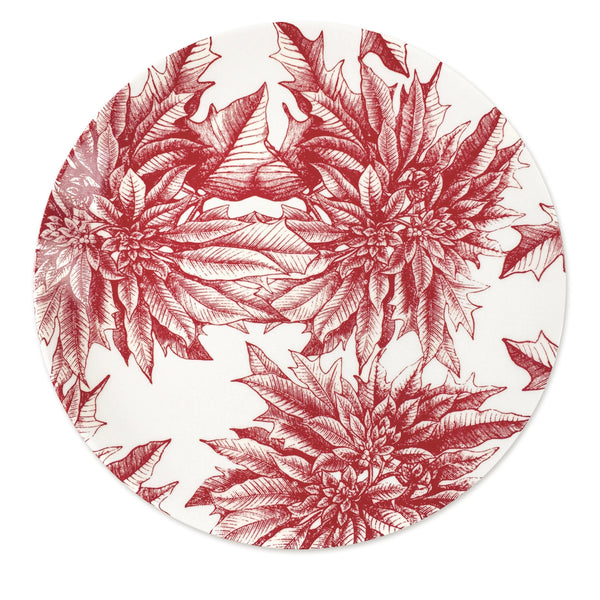 Poinsettia Red Coupe Round Full Coverage Platter