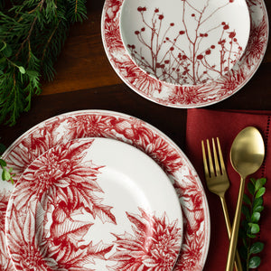 Poinsettia Red Salad Plate with Poinsettia Dinner and Salad and Winterberries Red Appetizer Plate