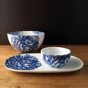 Peony Blue Small Coupe Oval Platter and Small Snack Bowl