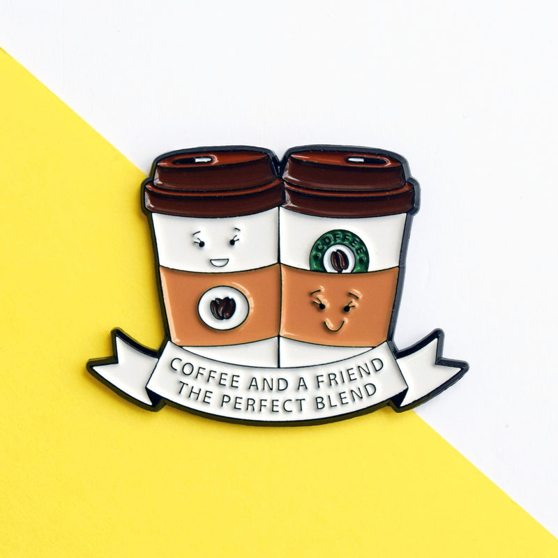 'Coffee and a Friend' Enamel Pin Badge-Of Life & Lemons®