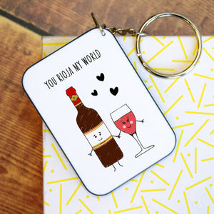 *DISCONTINUED* 'You Rioja My World' Funny Wine Keyring-Of Life & Lemons®