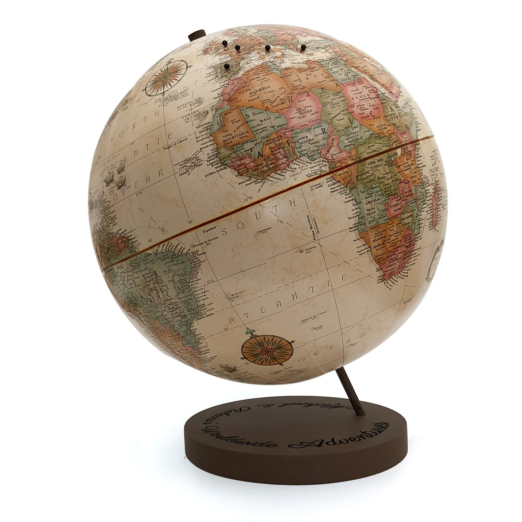 Push Pin Globe with Engraved Script Base