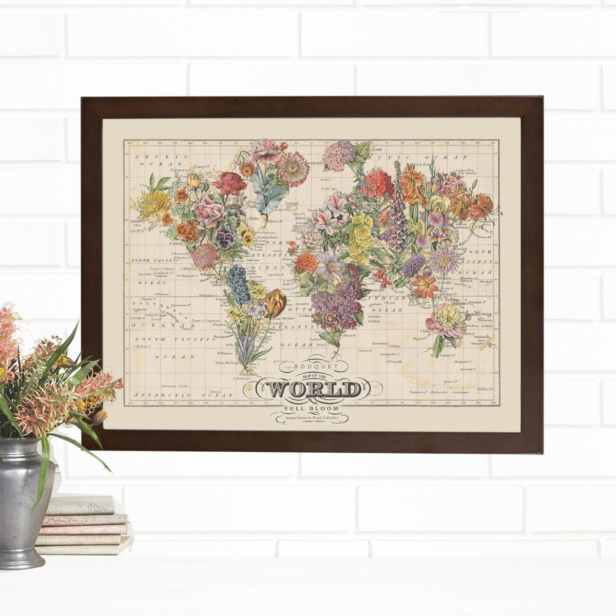 Bouquet Map of the World Vintage Wall Art by Wendy Gold