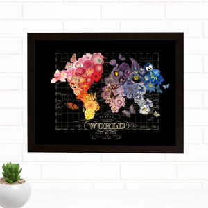 Spring Bloom Full Bloom World Map Wall Art by Wendy Gold