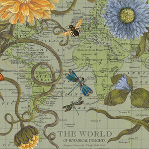 World Garden Pull Down Map Art by Wendy Gold