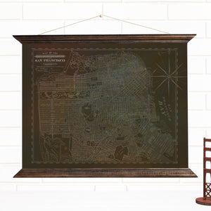 Vintage San Francisco Distressed Hanging Map Art by Wendy Gold
