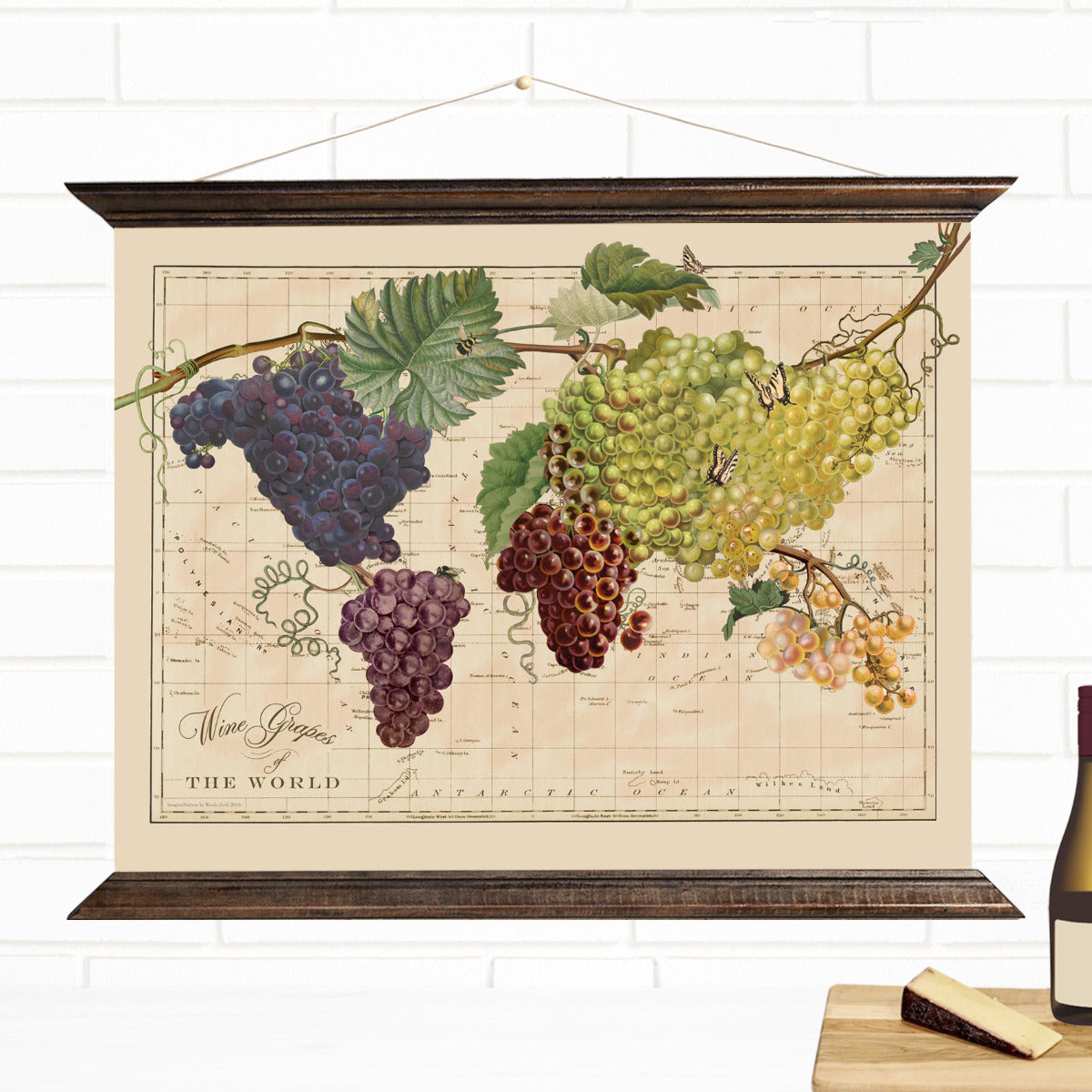 Wine Grapes Map of the World Pull Down Wall Art by Wendy Gold