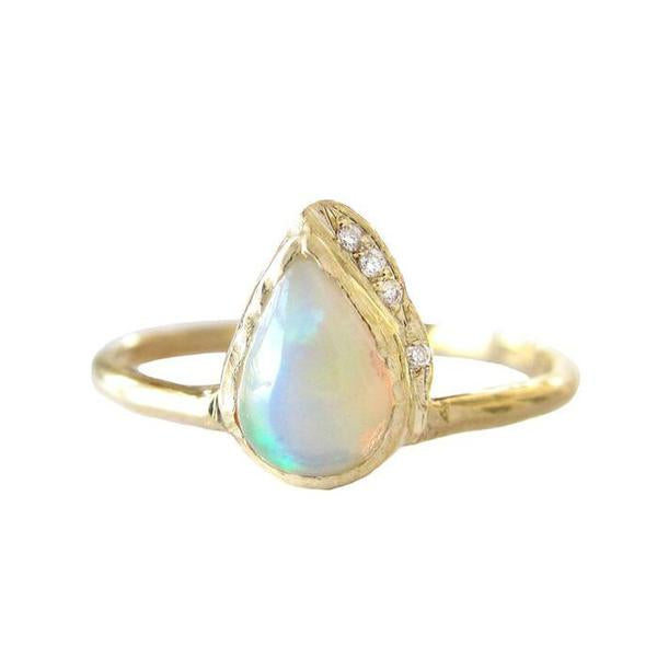 Raindrop Opal Ring in 14K Yellow Gold