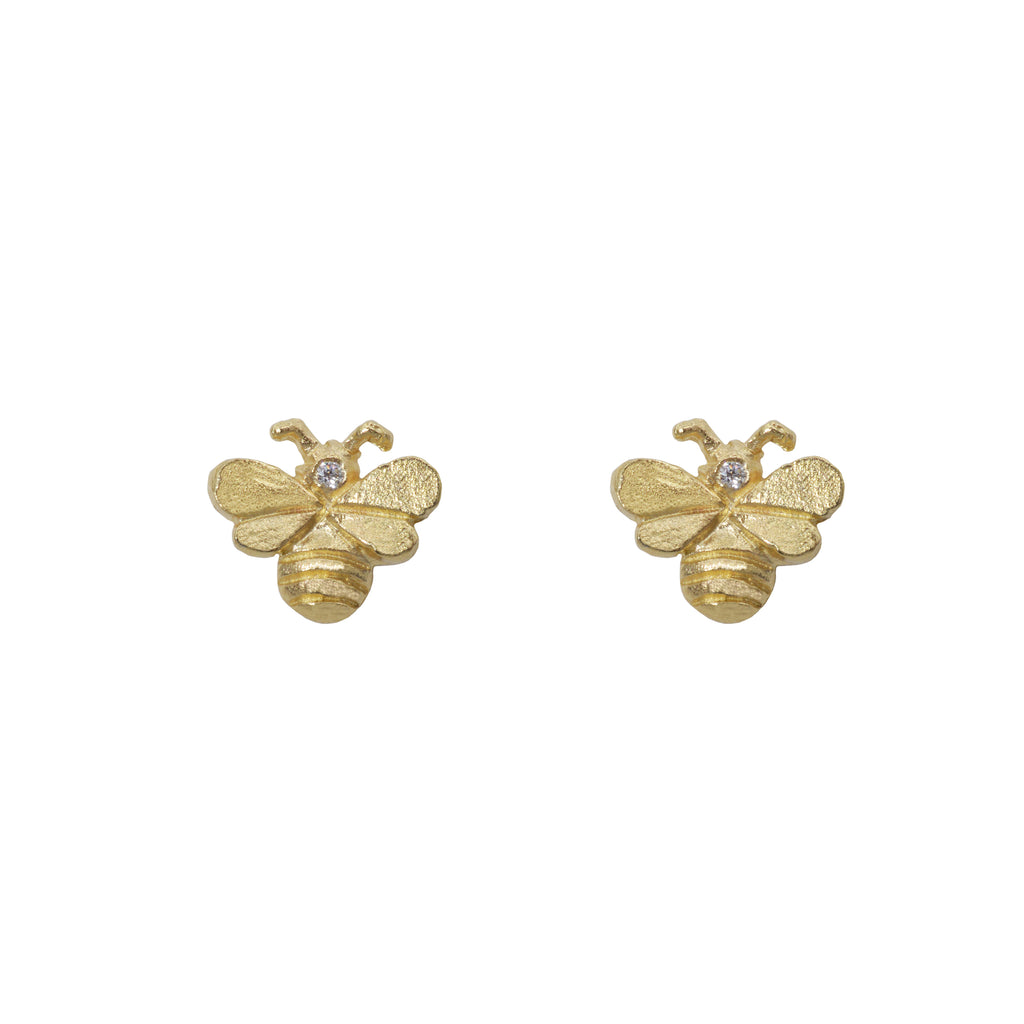 Bee Earrings in 14K Yellow Gold