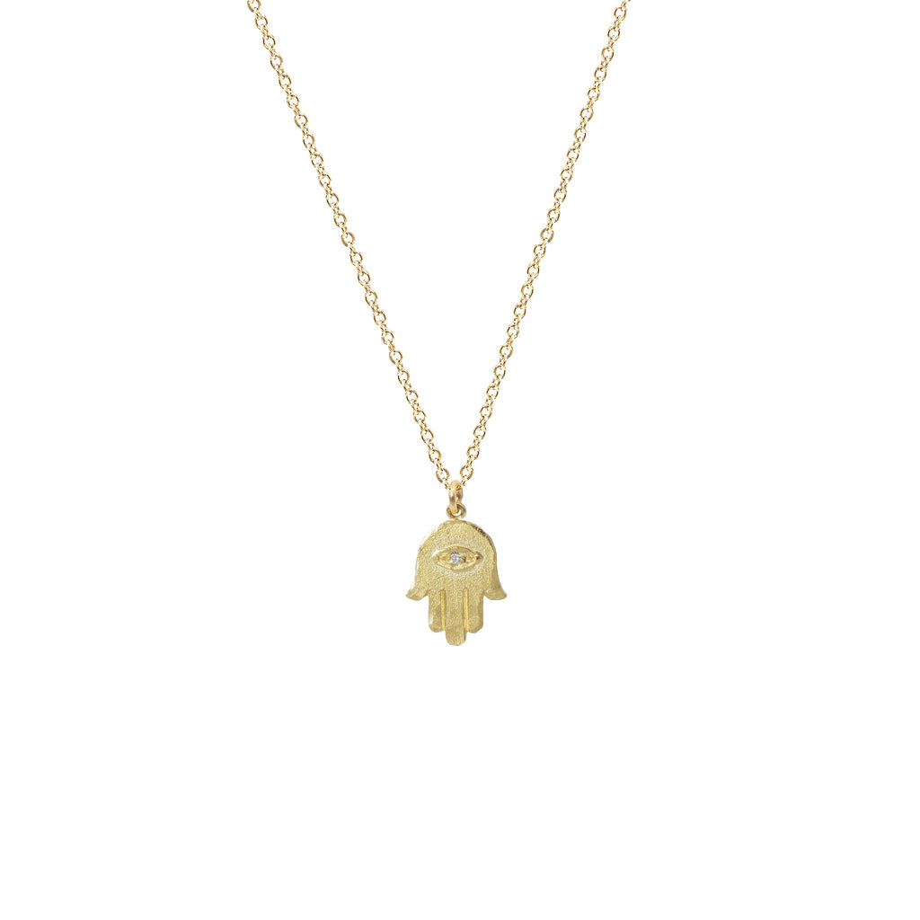 Hamsa Necklace with Diamond Eye in 14K Yellow Gold