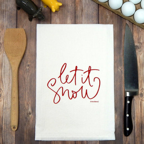Let It Snow Tea Towel Red