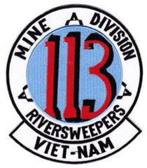 113 Navy Riversweepers Mine Division Military Patch VIET-NAM