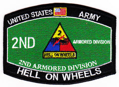 ARMY 2nd Armored Division Military Occupational Specialty MOS Military Patch HELL ON WHEELS