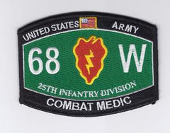 ARMY 25th Infantry Division Military Occupational Specialty MOS Military Patch 68W COMBAT MEDIC