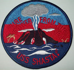 AE-6 USS SHASTA AMMUNITION SHIP MILITARY PATCH - FIRE POWER FROM THE SEA