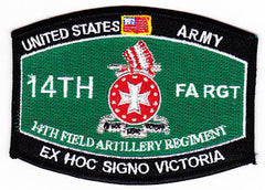 ARMY 14th Field Artillery Regiment Military Occupational Specialty MOS Rating Military Patch EX HOC SIGNO VICTORIA