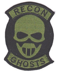"OIF / OEF SEAL GHOST RECON SKULL BLACK/OD GREEN ""VELCRO"" MILITARY PATCH"
